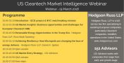 "Invitation to join a ""US Cleantech Market Intelligence Webinar"" taking place on the 15 March 2018 from 15:00 – 17:00."